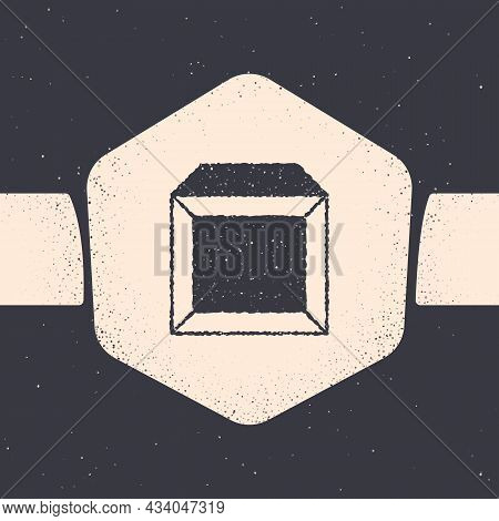Grunge Carton Cardboard Box Icon Isolated On Grey Background. Box, Package, Parcel Sign. Delivery An