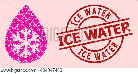 Textured Ice Water Stamp, And Pink Love Heart Collage For Snow Fresh Drop. Red Round Stamp Includes