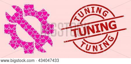 Grunge Tuning Stamp, And Pink Love Heart Collage For Service Tools. Red Round Stamp Has Tuning Text