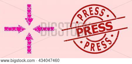 Grunge Press Seal, And Pink Love Heart Collage For Shrink Arrows. Red Round Seal Has Press Tag Insid