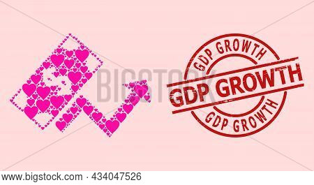 Rubber Gdp Growth Stamp, And Pink Love Heart Mosaic For Dollar Growth Trend. Red Round Stamp Contain