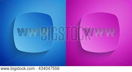 Paper Cut Website Template Icon Isolated On Blue And Purple Background. Internet Communication Proto