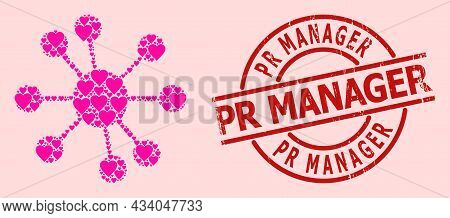 Textured Pr Manager Stamp Seal, And Pink Love Heart Mosaic For Node Relations. Red Round Seal Contai