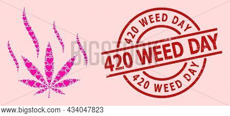 Distress 420 Weed Day Stamp Seal, And Pink Love Heart Mosaic For Marijuana Aroma. Red Round Seal Inc