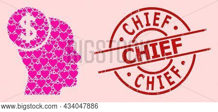 Textured Chief Stamp, And Pink Love Heart Collage For Head Banking. Red Round Stamp Has Chief Text I