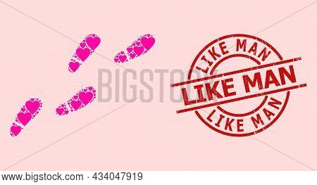 Grunge Like Man Badge, And Pink Love Heart Collage For Human Footprints Trail. Red Round Badge Inclu