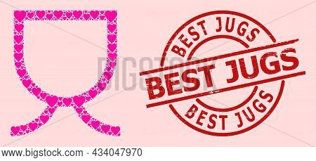 Grunge Best Jugs Stamp Seal, And Pink Love Heart Pattern For Mug. Red Round Stamp Seal Includes Best