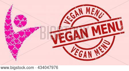 Distress Vegan Menu Stamp Seal, And Pink Love Heart Collage For Eco Man. Red Round Stamp Seal Has Ve