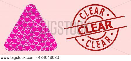 Distress Clear Stamp, And Pink Love Heart Mosaic For Rounded Triangle. Red Round Stamp Includes Clea