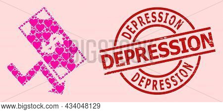 Scratched Depression Seal, And Pink Love Heart Mosaic For Dollar Down Trend. Red Round Badge Contain