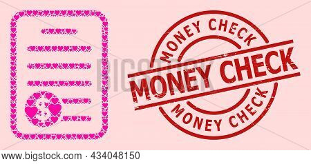 Rubber Money Check Stamp Seal, And Pink Love Heart Mosaic For Price List. Red Round Stamp Has Money