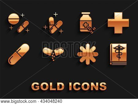 Set Medicine Pill Or Tablet, Cross Hospital Medical, Medical Book, Bottle And Pills, And Icon. Vecto