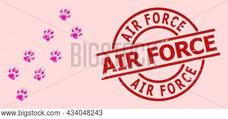 Grunge Air Force Seal, And Pink Love Heart Mosaic For Tiger Paw Trace. Red Round Seal Includes Air F