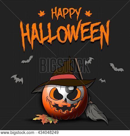 Happy Halloween. Billiard Ball As Pumpkin