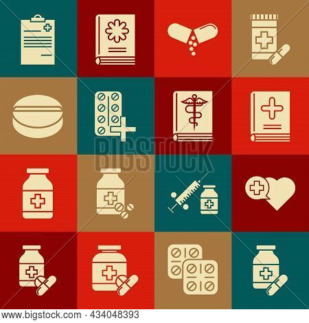 Set Medicine Bottle And Pills, Heart With Cross, Medical Book, Or Tablet, Pills Blister Pack, Clipbo