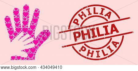 Grunge Philia Seal, And Pink Love Heart Mosaic For Friend Hands. Red Round Stamp Seal Contains Phili