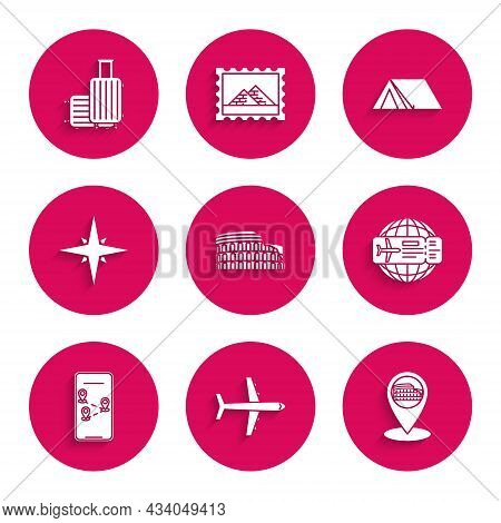 Set Coliseum In Rome, Italy, Plane, Map Pointer With, Airline Ticket, Infographic Of City Map Naviga
