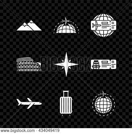 Set Mountains, Globe With Flying Plane, Airline Ticket, Plane, Suitcase For Travel, Coliseum Rome, I