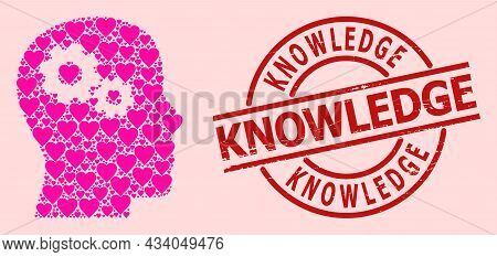 Scratched Knowledge Badge, And Pink Love Heart Mosaic For Head Gears. Red Round Badge Has Knowledge