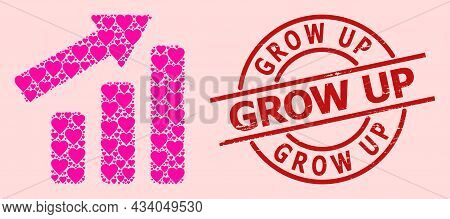 Distress Grow Up Stamp, And Pink Love Heart Collage For Up Trend Bar Chart. Red Round Stamp Contains