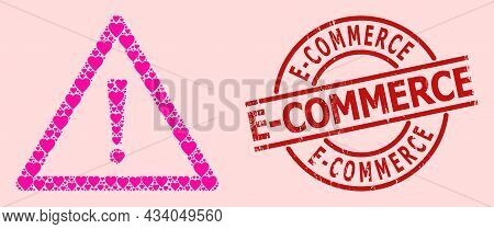 Distress E-commerce Stamp Seal, And Pink Love Heart Mosaic For Warning Sign. Red Round Stamp Seal Ha