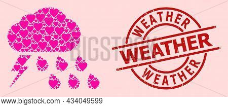 Textured Weather Stamp, And Pink Love Heart Mosaic For Thunderstorm Weather. Red Round Stamp Contain