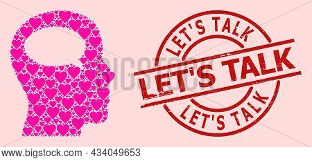Distress Lets Talk Stamp, And Pink Love Heart Collage For Thinking. Red Round Stamp Seal Has Lets Ta