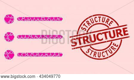 Textured Structure Stamp, And Pink Love Heart Mosaic For List Items. Red Round Stamp Seal Contains S