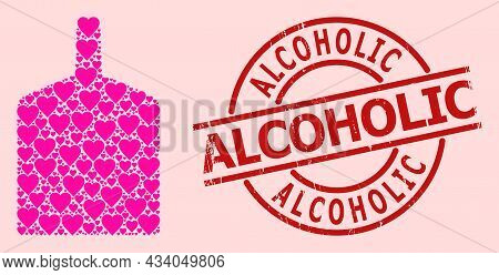 Scratched Alcoholic Stamp Seal, And Pink Love Heart Collage For Wide Bottle. Red Round Stamp Seal In