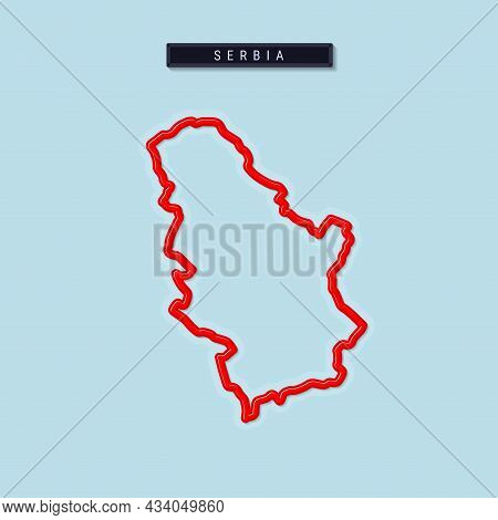 Serbia Bold Outline Map. Glossy Red Border With Soft Shadow. Country Name Plate. Vector Illustration
