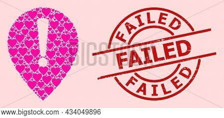 Rubber Failed Stamp, And Pink Love Heart Mosaic For Notice Map Pointer. Red Round Stamp Seal Include