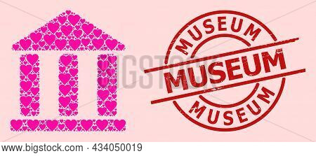 Rubber Museum Stamp Seal, And Pink Love Heart Mosaic For Library Building. Red Round Stamp Seal Incl