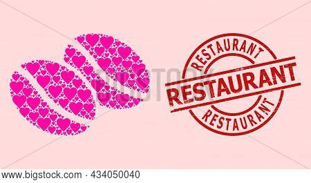 Scratched Restaurant Stamp Seal, And Pink Love Heart Mosaic For Coffee Beans. Red Round Stamp Contai