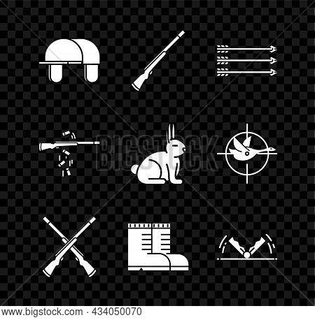 Set Hunter Hat, Hunting Gun, Hipster Arrows, Two Crossed Shotguns, Boots, Trap Hunting, Gun Shooting