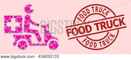 Grunge Food Truck Stamp, And Pink Love Heart Collage For Medical Motorbike. Red Round Stamp Seal Has