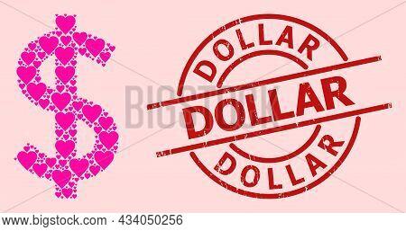 Rubber Dollar Stamp, And Pink Love Heart Mosaic For Dollar. Red Round Stamp Seal Contains Dollar Cap