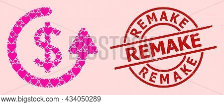 Rubber Remake Seal, And Pink Love Heart Collage For Repeat Payment. Red Round Seal Includes Remake C