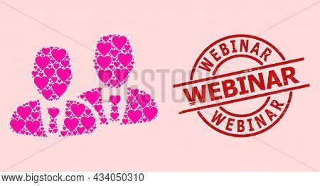Textured Webinar Stamp Seal, And Pink Love Heart Mosaic For Managers. Red Round Stamp Has Webinar Ti