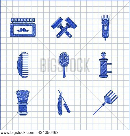 Set Hand Mirror, Straight Razor, Hairbrush, Classic Barber Shop Pole, Shaving, Electrical Hair Clipp