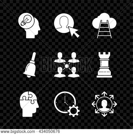 Set Human Head With Lamp Bulb, User Of In Business Suit, Ladder Leading To Cloud, Puzzles Strategy,