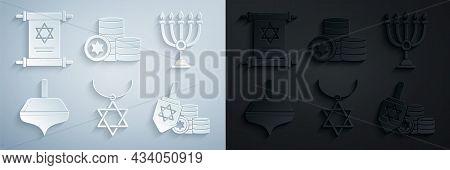 Set Star Of David Necklace On Chain, Hanukkah Menorah, Dreidel, And Coin, Jewish And Torah Scroll Ic