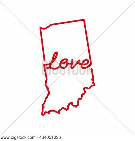 Indiana Us State Red Outline Map With The Handwritten Love Word. Continuous Line Drawing Of Patrioti