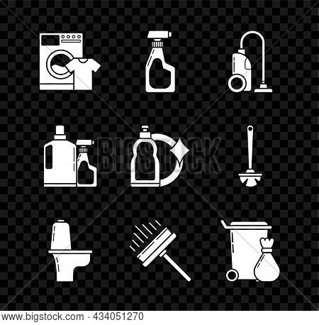 Set Washer And T-shirt, Cleaning Spray Bottle With Detergent Liquid, Vacuum Cleaner, Toilet Bowl, Sq