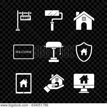 Set Hanging Sign With Text Rent, Paint Roller Brush, House, Tablet And Smart Home, Realtor, Computer