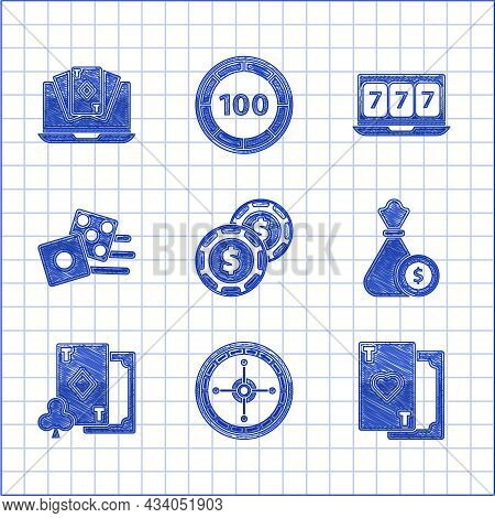 Set Casino Chip With Dollar, Roulette Wheel, Playing Card Heart, Money Bag And Casino Chips, Diamond