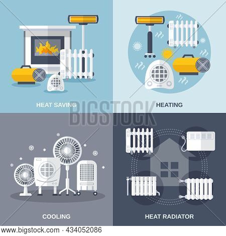 Heating And Cooling Design Concept Set With Heat Saving And Radiator Flat Icons Isolated Vector Illu
