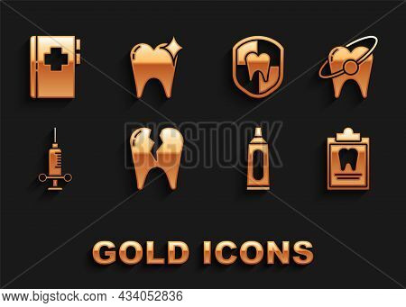 Set Broken Tooth, Tooth Whitening Concept, Clipboard With Dental Card, Tube Of Toothpaste, Dental Me