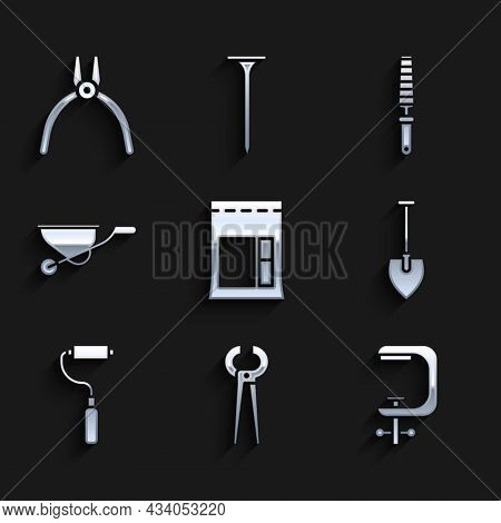 Set Cement Bag, Pincers And Pliers, Clamp Screw Tool, Shovel, Paint Roller Brush, Wheelbarrow, Chise