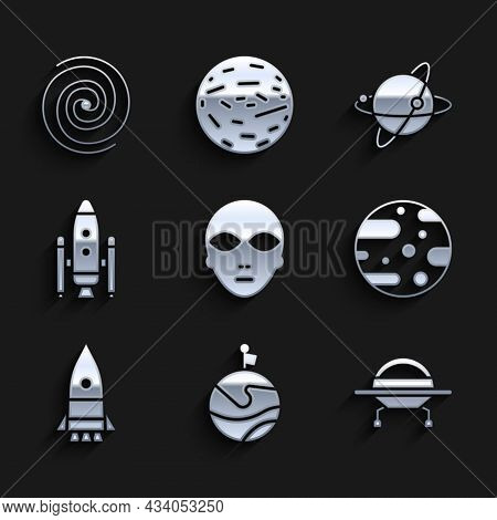 Set Alien, Moon With Flag, Ufo Flying Spaceship, Planet Mars, Rocket, Space Shuttle And Rockets, Sat