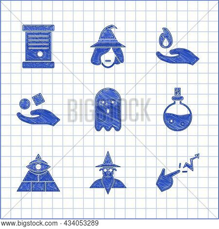Set Ghost, Wizard Warlock, Spell, Bottle With Love Potion, Masons, Cube Levitating Above Hand, Hand